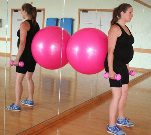 Pregnancy workouts on a fitball