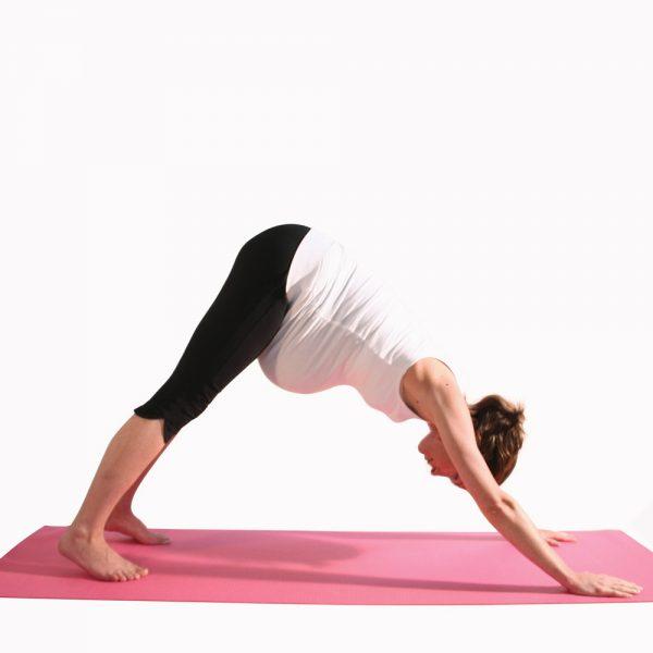 Pregnancy yoga downward facing dog