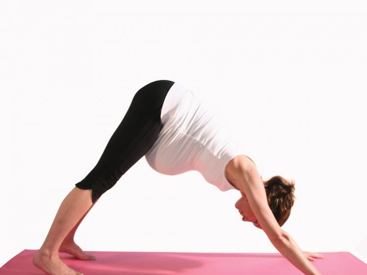 Pregnancy yoga: downward facing dog