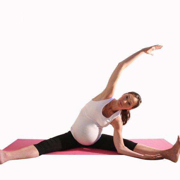Pregnancy yoga side stretch