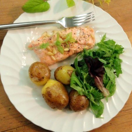 Healthy pregnancy meal lime salmon with pine nuts